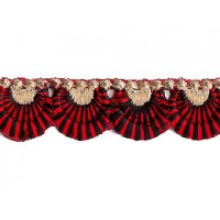 "Red and Black Scalloped Embroidered Cutwork Trim ~ India ~ 3/4"" wide"