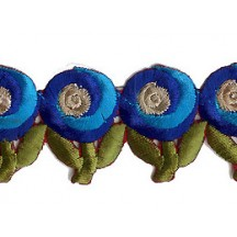 """Blue and Turquoise Swirl Flower Embroidered Cutwork Trim ~ India ~ 1-3/8"""" wide"""