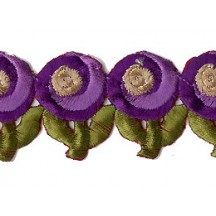 "Purple Swirl Flower Embroidered Cutwork Trim ~ India ~ 1-3/8"" wide"