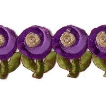 "Purple Swirl Flower Embroidered Cutwork Trim ~ India ~ 1-3/8"" wide"