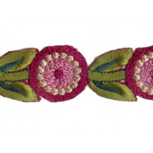 "Mauve and Green Round Flower Embroidered Cutwork Trim ~ India ~ 1-1/8"" wide"