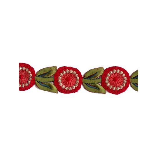 """Red and Green Round Flower Embroidered Cutwork Trim ~ India ~ 1-1/8"""" wide"""