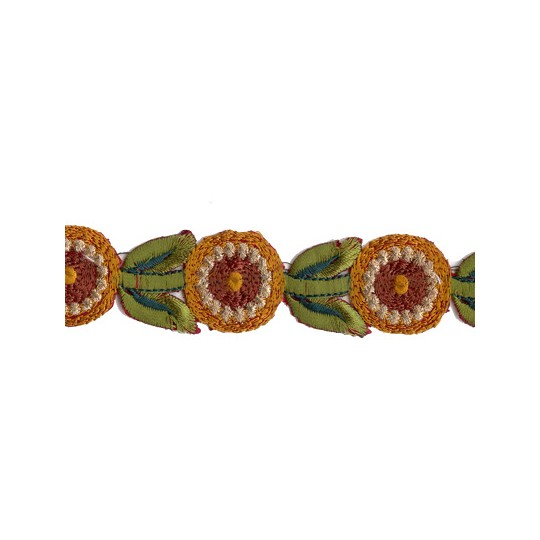 """Golden Yellow and Green Round Flower Embroidered Cutwork Trim ~ India ~ 1-1/8"""" wide"""