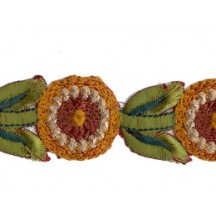 "Golden Yellow and Green Round Flower Embroidered Cutwork Trim ~ India ~ 1-1/8"" wide"