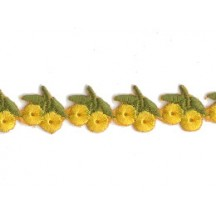 "Yellow Cherries Embroidered Cutwork Trim ~ India ~ 5/8"" wide"