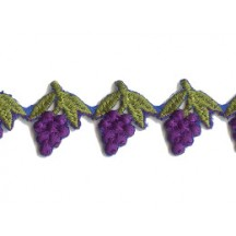 "Purple Grapes Embroidered Cutwork Trim ~ India ~ 7/8"" wide"