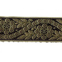 "Black and Gold Geometric Flower and Leaf Metallic Trim ~ India ~ 1-3/8"" wide"