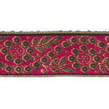 "Hot Pink and Gold Geometric Flower and Leaf Metallic Trim ~ India ~ 1-3/8"" wide"