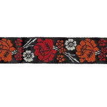 "Red and Orange Floral Woven Ribbon Trim ~ India ~ 5/8"" wide"