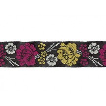 "Magenta and Yellow Floral Woven Ribbon Trim ~ India ~ 5/8"" wide"