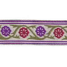 "Burgundy and Purple Floral Rosette Woven Ribbon Trim ~ India ~ 1"" wide"