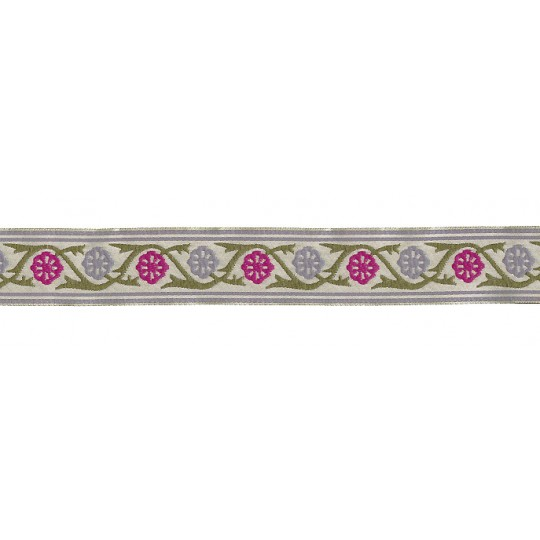 "Magenta and Grey Floral Rosette Woven Ribbon Trim ~ India ~ 1"" wide"