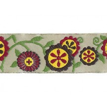 "Yellow and Burgundy Floral Pinwheel Woven Ribbon Trim ~ India ~ 1"" wide"