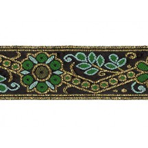 "Green and Gold Geometric Flower and Leaf Metallic Trim ~ India ~ 1"" wide"