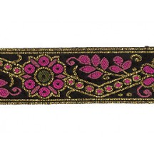 "Pink and Gold Geometric Flower and Leaf Metallic Trim ~ India ~ 1"" wide"