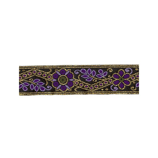 "Purple and Gold Geometric Flower and Leaf Metallic Trim ~ India ~ 1"" wide"