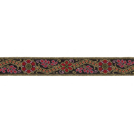 "Red and Gold Geometric Flower and Leaf Metallic Trim ~ India ~ 1"" wide"