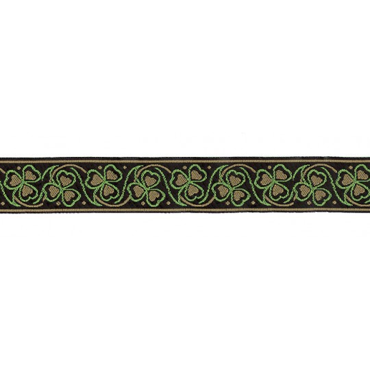 "Tan and Green Shamrock Woven Ribbon Trim ~ India ~ 1"" wide"