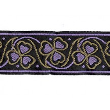 "Tan and Light Purple Shamrock Woven Ribbon Trim ~ India ~ 1"" wide"