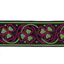 "Magenta and Green Shamrock Woven Ribbon Trim ~ India ~ 1"" wide"
