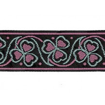 "Pink and Mint Green Shamrock Woven Ribbon Trim ~ India ~ 1"" wide"