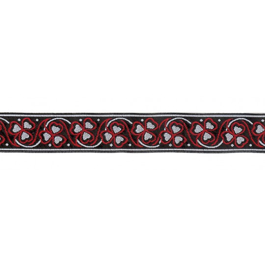 "Grey and Red Shamrock Woven Ribbon Trim ~ India ~ 1"" wide"
