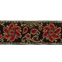 "Red and Black Flower and Leaf Metallic Trim ~ India ~ 7/8"" wide"