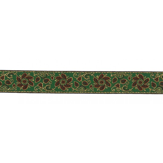 "Green and Brown Flower and Leaf Metallic Trim ~ India ~ 7/8"" wide"
