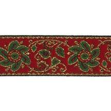 "Green and Red Flower and Leaf Metallic Trim ~ India ~ 7/8"" wide"