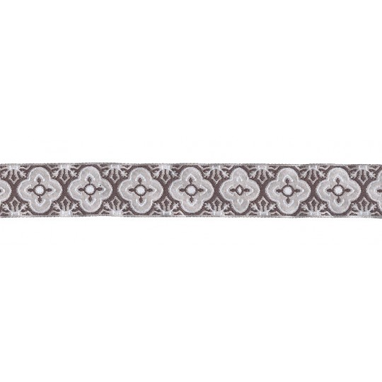 "Ivory and Dark Grey Woven Quatrefoil Ribbon Trim ~ India ~ 1"" wide"