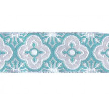 "Ivory and Turquoise Blue Woven Quatrefoil Ribbon Trim ~ India ~ 1"" wide"
