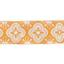 "Ivory and Golden Yellow Woven Quatrefoil Ribbon Trim ~ India ~ 1"" wide"