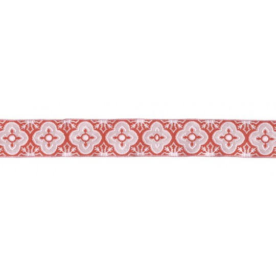 "Ivory and Brick Red Woven Quatrefoil Ribbon Trim ~ India ~ 1"" wide"