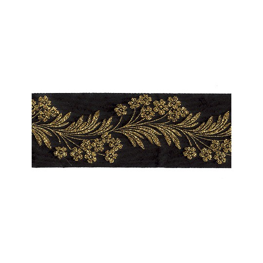 "Black and Gold Forget Me Not Flower Metallic Trim ~ India ~ 1-5/8"" wide"