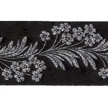 "Black and Silver Forget Me Not Flower Metallic Trim ~ India ~ 1-5/8"" wide"