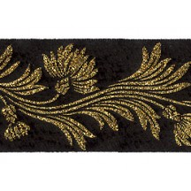 "Black and Gold Dianthus Flower Metallic Trim ~ India ~ 1-5/8"" wide"