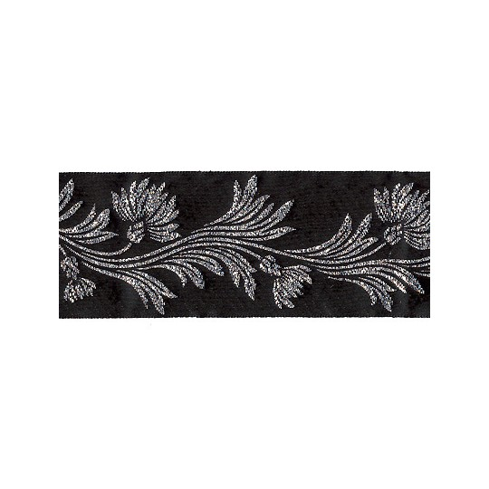 "Black and Silver Dianthus Flower Metallic Trim ~ India ~ 1-5/8"" wide"