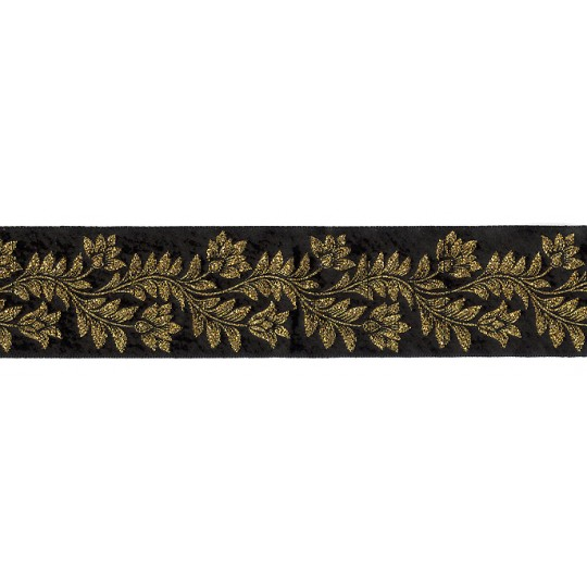 "Black and Gold Flower and Leaf Metallic Trim ~ India ~ 1-5/8"" wide"