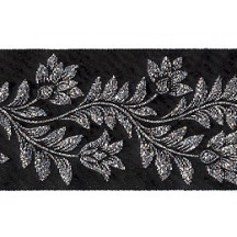 "Black and Silver Flower and Leaf Metallic Trim ~ India ~ 1-5/8"" wide"