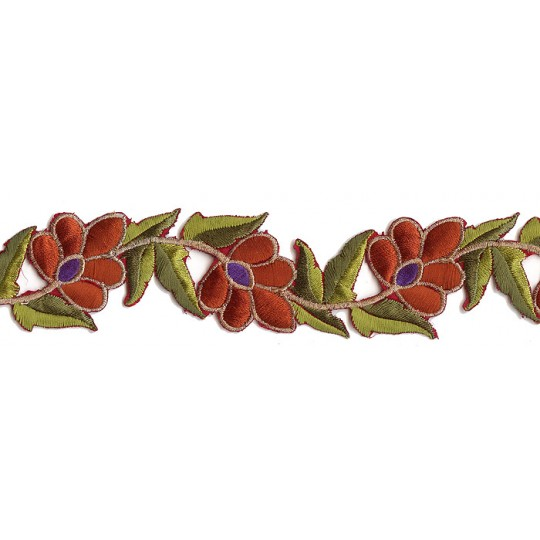 """Brown and Green Flower Embroidered Cutwork Trim ~ India ~ 1-3/4"""" wide"""