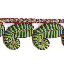 "Green Fern Leaf Embroidered Cutwork Trim ~ India ~ 1"" wide"