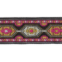 "Pink and Yellow Geometric Woven Ribbon Trim ~ India ~ 1"" wide"