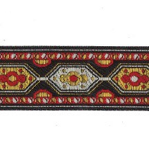 "Red and Yellow Geometric Woven Ribbon Trim ~ India ~ 1"" wide"
