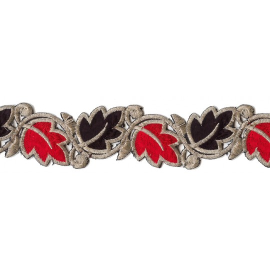 """Red and Black Leaf Embroidered Cutwork Trim ~ India ~ 2"""" wide"""
