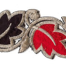 "Red and Black Leaf Embroidered Cutwork Trim ~ India ~ 2"" wide"