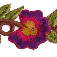 "Bright Pink and Purple Flower Embroidered Cutwork Trim ~ India ~ 2"" wide"