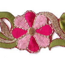 "Pink Flower Embroidered Cutwork Trim ~ India ~ 1-3/8"" wide"