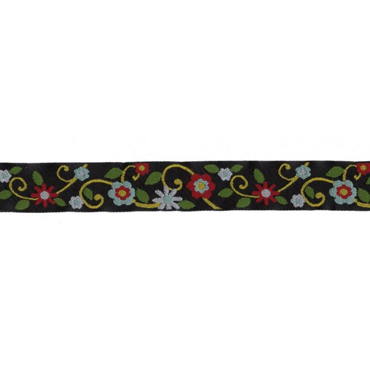 "Mint and Red Flowers Woven Ribbon Trim ~ India ~ 1"" wide"