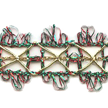 Old Store Stock Woven Red, Gold & Green Open Tinsel Trim~ Vintage