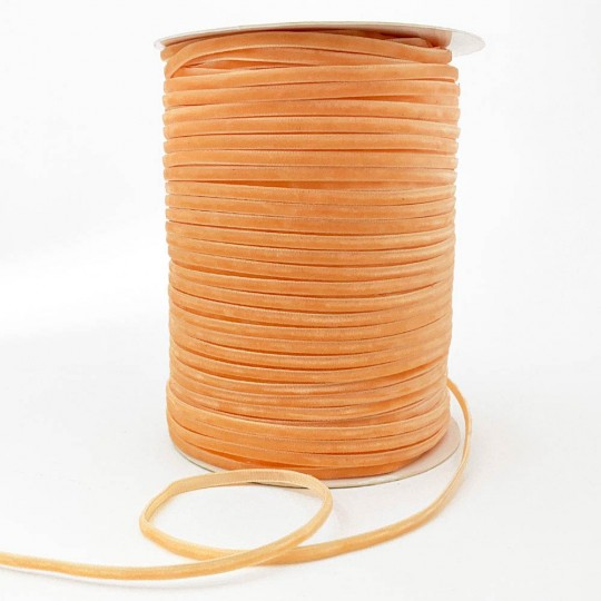 """Tiny Velvet Ribbon Trim in Apricot Orange ~ 1/8"""" wide"""
